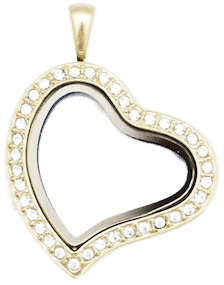 Locket Gold Sweet Heart with Crystals