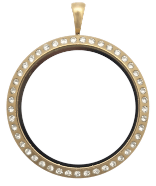 locket gold full size round with crystals