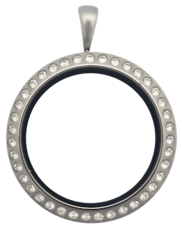 Locket Silver Standard Round with Crystals