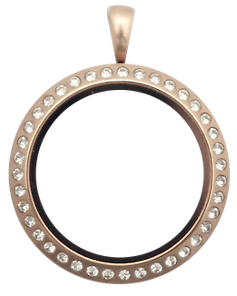 Locket Rose Gold Standard Round with Crystals