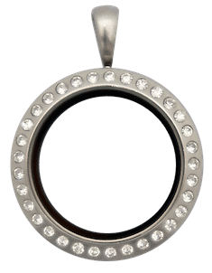 Locket Silver Medium Round with Crystals