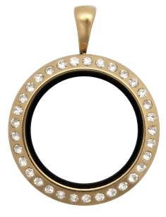 Locket Gold Medium Round Crystal
