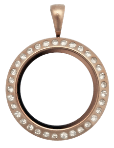 Locket Rose Gold Medium Round Crystal Locket