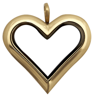 Gold Full Size Straight Heart Plain Locket