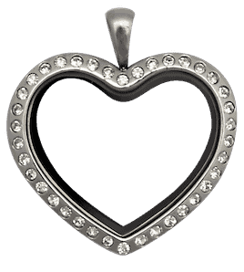 Locket Silver Standard Heart with Crystals