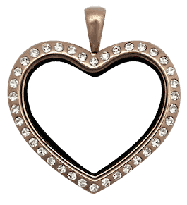 Locket Rose Gold Standard Heart with Crystals