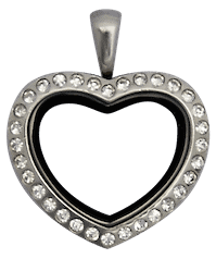 Locket Silver Medium Heart Crystals