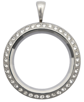 Locket Silver Standard Prism with Crystals