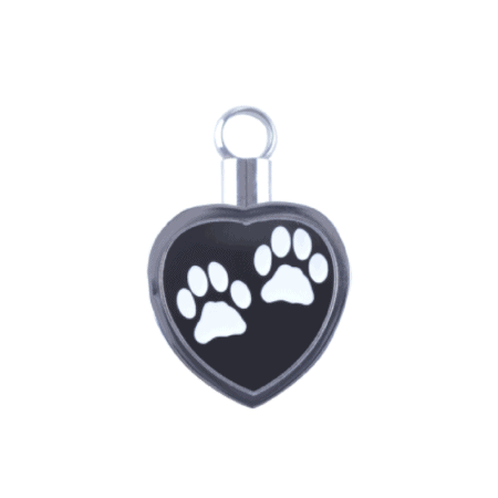 Silver and Black Pet Print Paws Urn Jewellery