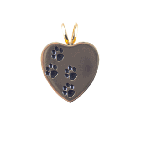 Urn Gold Pet Print Heart - Lockets For Ashes, Hair and Sand