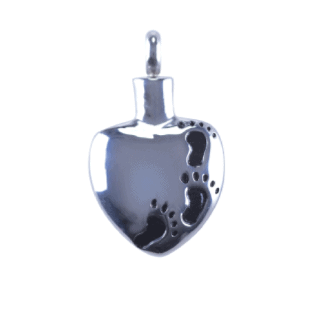 Urn Silver Heart Footprints - Keepsake Jewellery For Ashes, Hair, Sand
