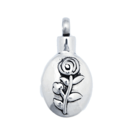 Urn Silver Rose Stem - Keepsake Jewellery To Hold Ashes, Hair or Sand