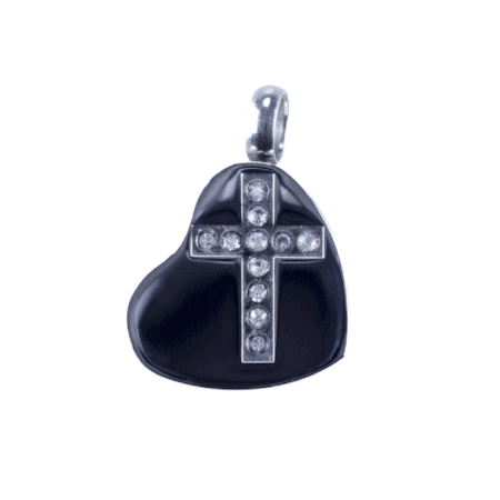 Silver Heart with Engraved Cross Urn Jewellery