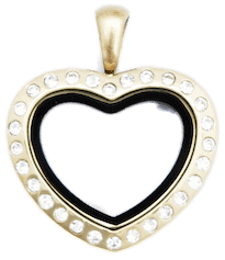 Locket Gold Medium Crystal Heart