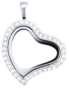 Locket Silver Sweet Heart with Crystals