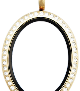 Locket Gold Standard Oval with Crystals