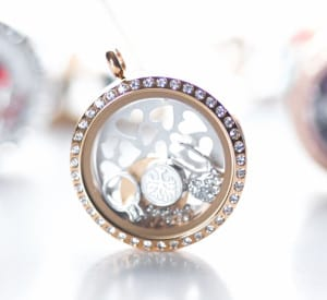 Gold locket with crystals