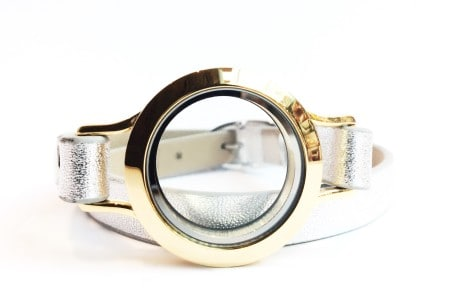 Silver Leather Bracelet with Gold Locket