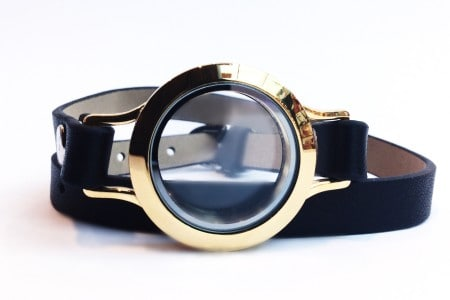 Black Leather Bracelet with Gold Locket