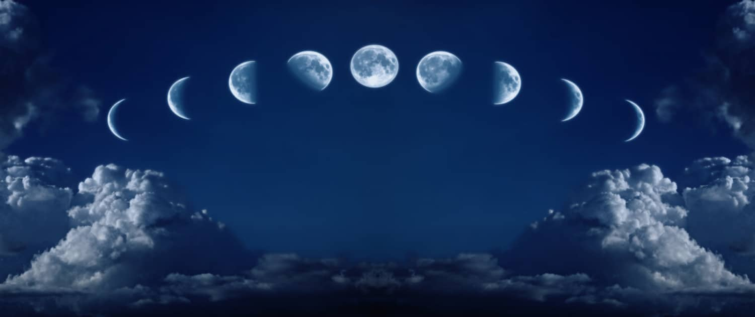 Phases of the full growth cycle of the moon