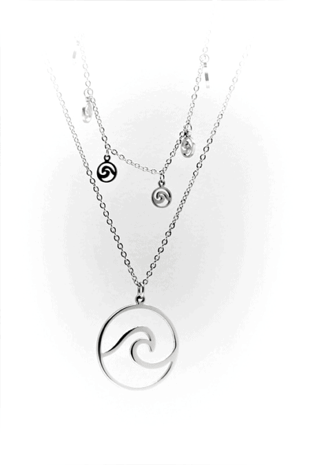 Natural Elements Wave Double Choker Pendant Necklace in Silver