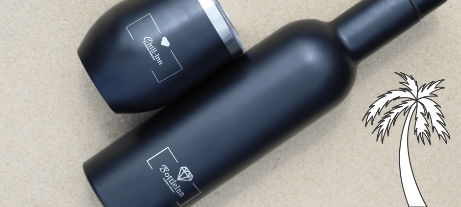 Insulated Chill-Inn Bottle & Goblet In Matt Black - INNsulated Collection